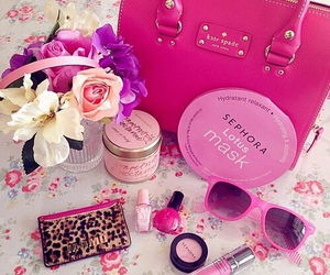 pink, flowers, and makeup image