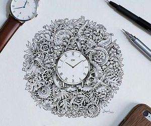 clock, drawing, and art image