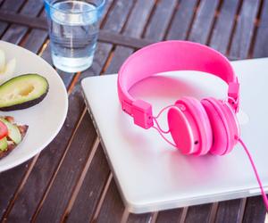 pink, headphones, and food image