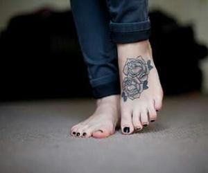 tattoo, feet, and rose image