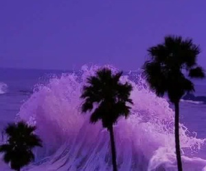 purple, beach, and waves image