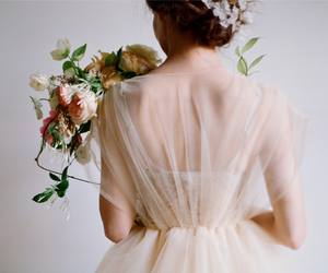 flowers, dress, and wedding image