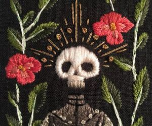 embroidery, mexican, and skull image