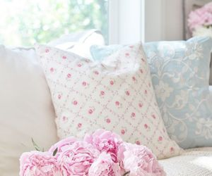 cushions, flowers, and pastel image