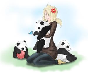 anime, girl, and pandas image