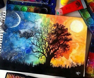 drawing, the tree of life, and moon image