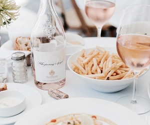 food, fries, and wine image