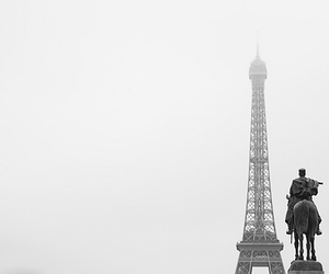 b+w, black and white, and eiffel tower image
