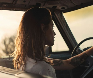 girl, car, and tattoo image