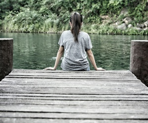 girl, nature, and lonely image