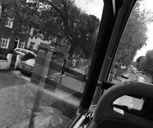 black and white, dublin, and bus image