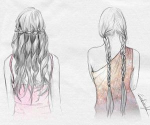 hair, braid, and drawing image