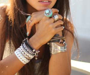 girl, bracelet, and rings image