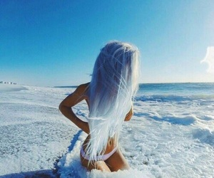 blue, hair, and sea image