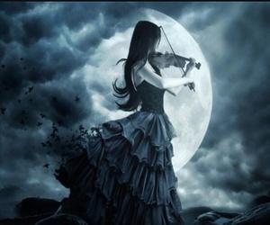 violin, moon, and music image