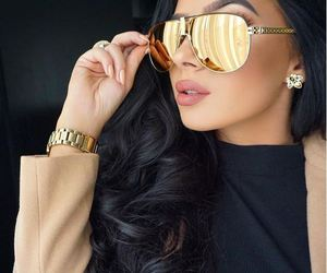 gold, makeup, and style image