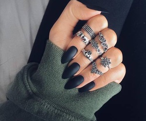 accessories, black nails, and rings image