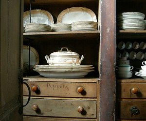dishes, pantry, and vintage image