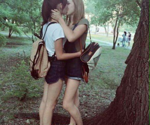 kiss, outdoor, and cute image