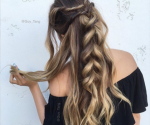 braid, highlights, and hair image