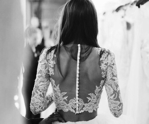 dress, wedding, and black and white image