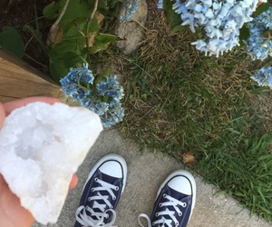 converse, crystal, and flowers image