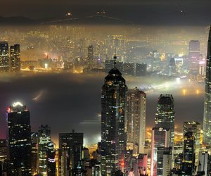 city, hong kong, and night image