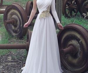 dress, white, and beautiful image