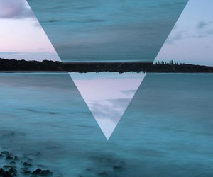 wallpaper, triangle, and blue image