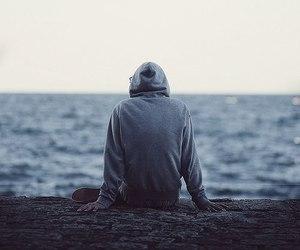 boy, sea, and alone image
