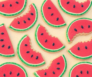 watermelon, fruit, and red image