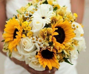 flowers, sunflower, and wedding image