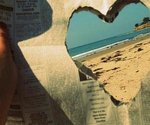 heart, beach, and newspaper image