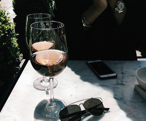 drink, wine, and sunglasses image