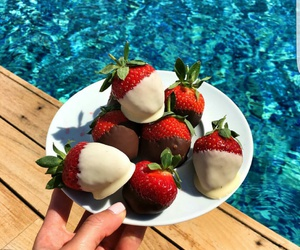 strawberry, fruit, and pool image