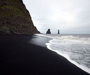 beach, black, and sea image