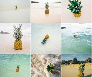 pineapple, beach, and wallpaper image