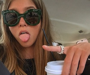 girl, drink, and sunglasses image