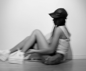 black and white, blur, and fashion image