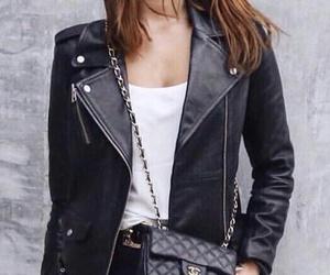 black pants, black leather jacket, and white t shirt image