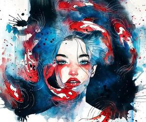 art, fish, and blue image