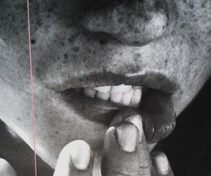 lips, freckles, and black and white image