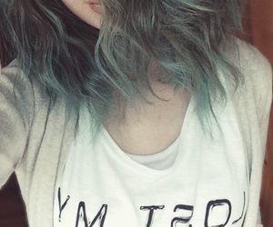 blue hair, curls, and makeup image