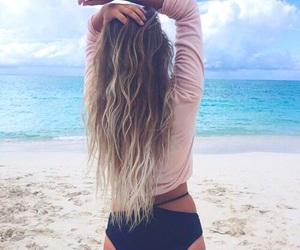 hair, beach, and bikini image