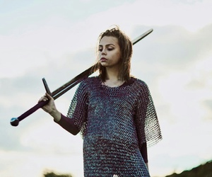 girl, sword, and warrior image