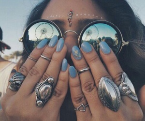 nails, coachella, and rings image