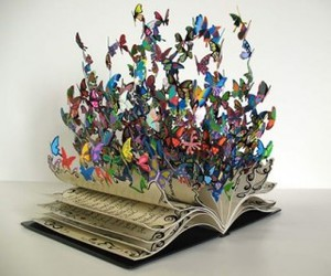 book, butterfly, and colorful image