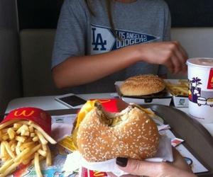 food, fries, and hamburger image