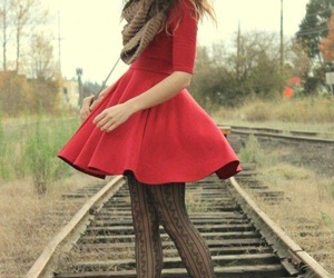 brown boots and little red dress image