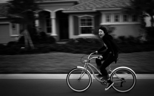 bike and black and white image